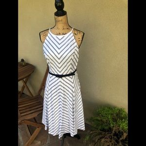 White House Black Market Chevron Striped Dress